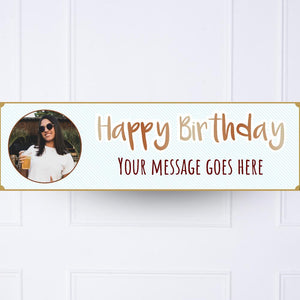 Blue Stripe Birthday Personalised Party Banner