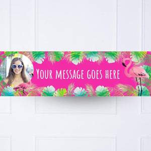 Pink Palm Leaf Flamingo Personalised Party Banner