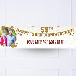 50th Golden Anniversary Personalised Party Banner