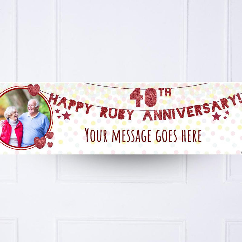 40th Ruby Anniversary Personalised Party Banner
