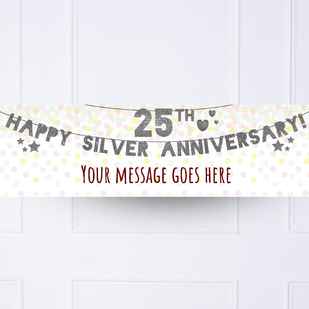 25th Silver Anniversary Personalised Party Banner