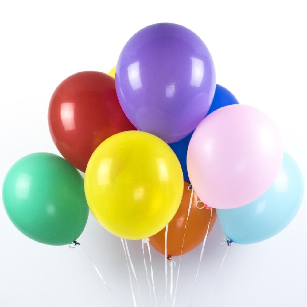 A bunch of latex balloons in a variety of different colours