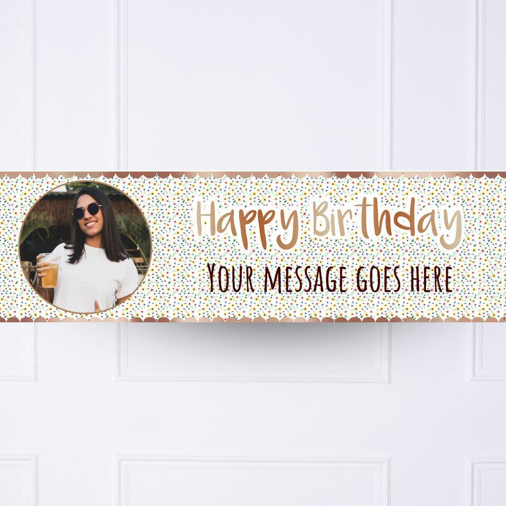 Rose Gold Floral Birthday Personalised Party Banner
