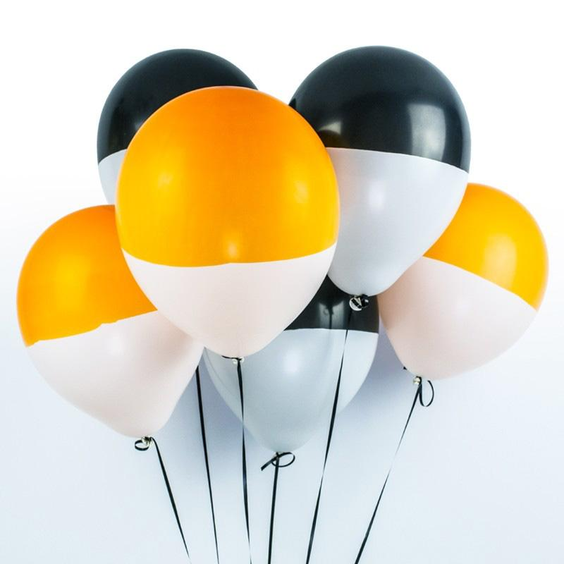 Dipped Orange and Black Latex Party Balloons