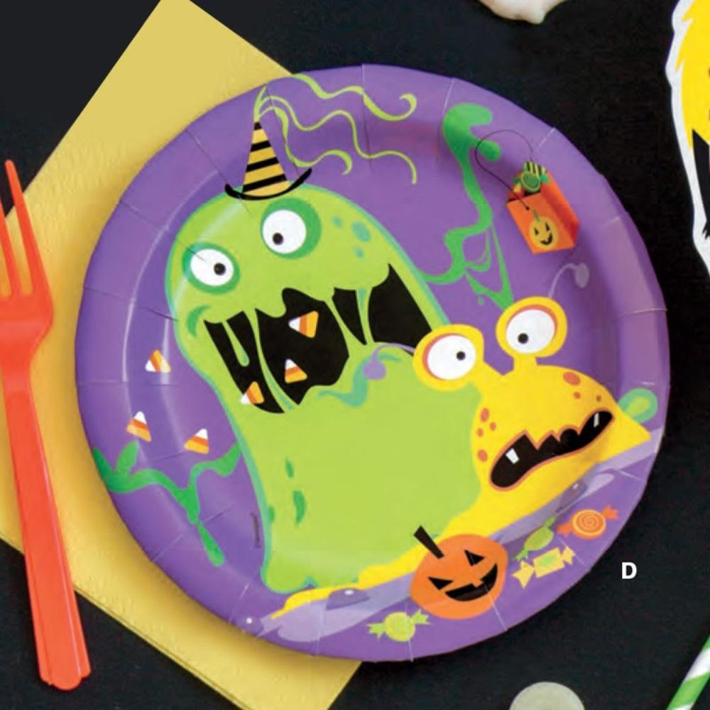 Silly Halloween Monsters Small Paper Party Plates (x8)