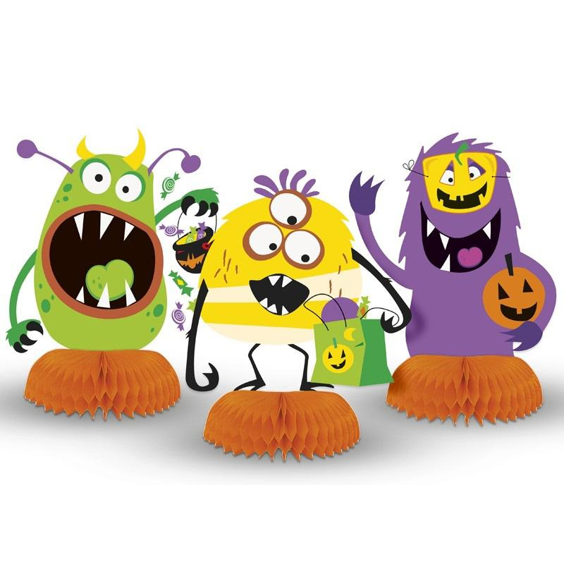 Silly Halloween Monsters Honeycomb Decorations (x3)
