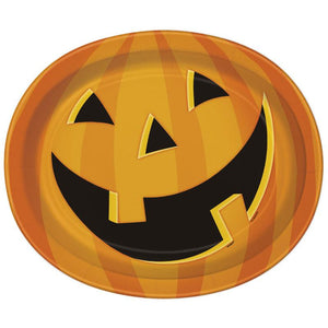 Smiling Pumpkin Paper Party Oval Plates (x8)