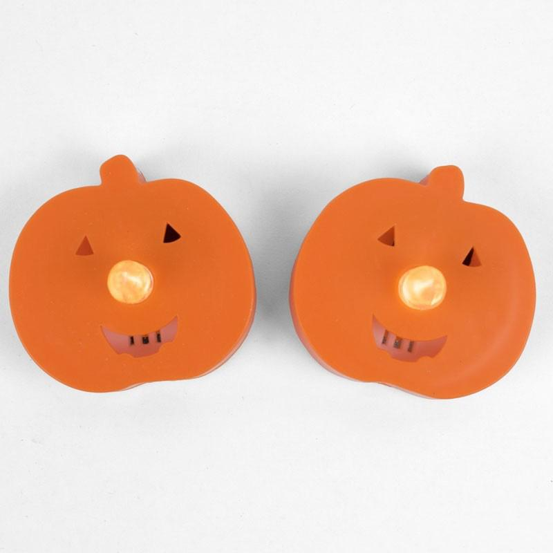 Halloween Pumpkin-Shaped LED Tea Lights (x2)