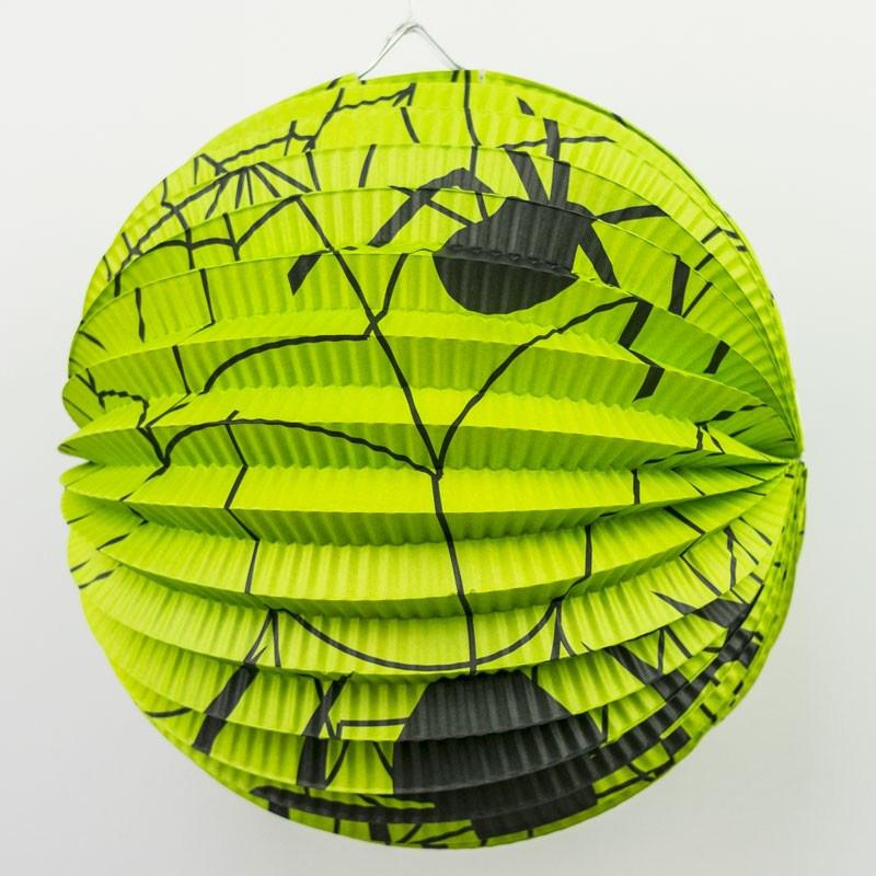 Halloween Paper Party Lantern Green Cobweb