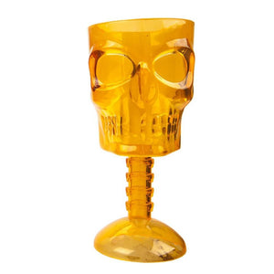 Reusable Halloween Skull Plastic Drinking Goblet Orange
