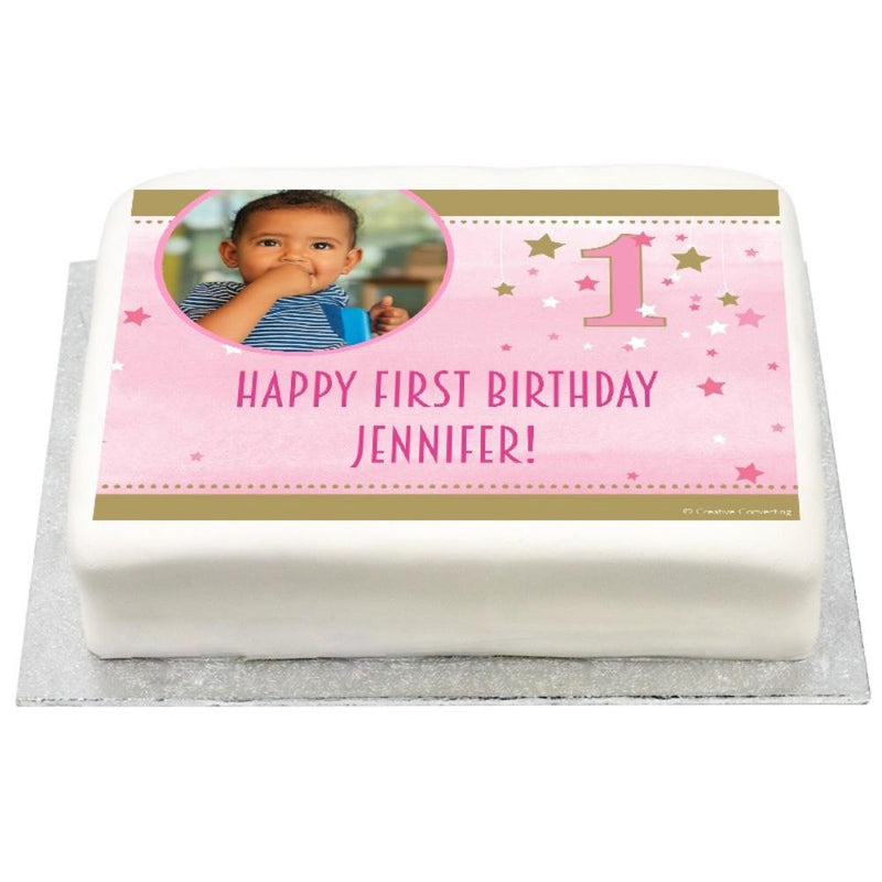 Personalised Photo Cake - Pink One Little Star