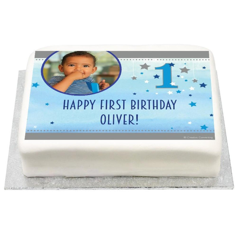 Personalised Photo Cake - Blue One Little Star
