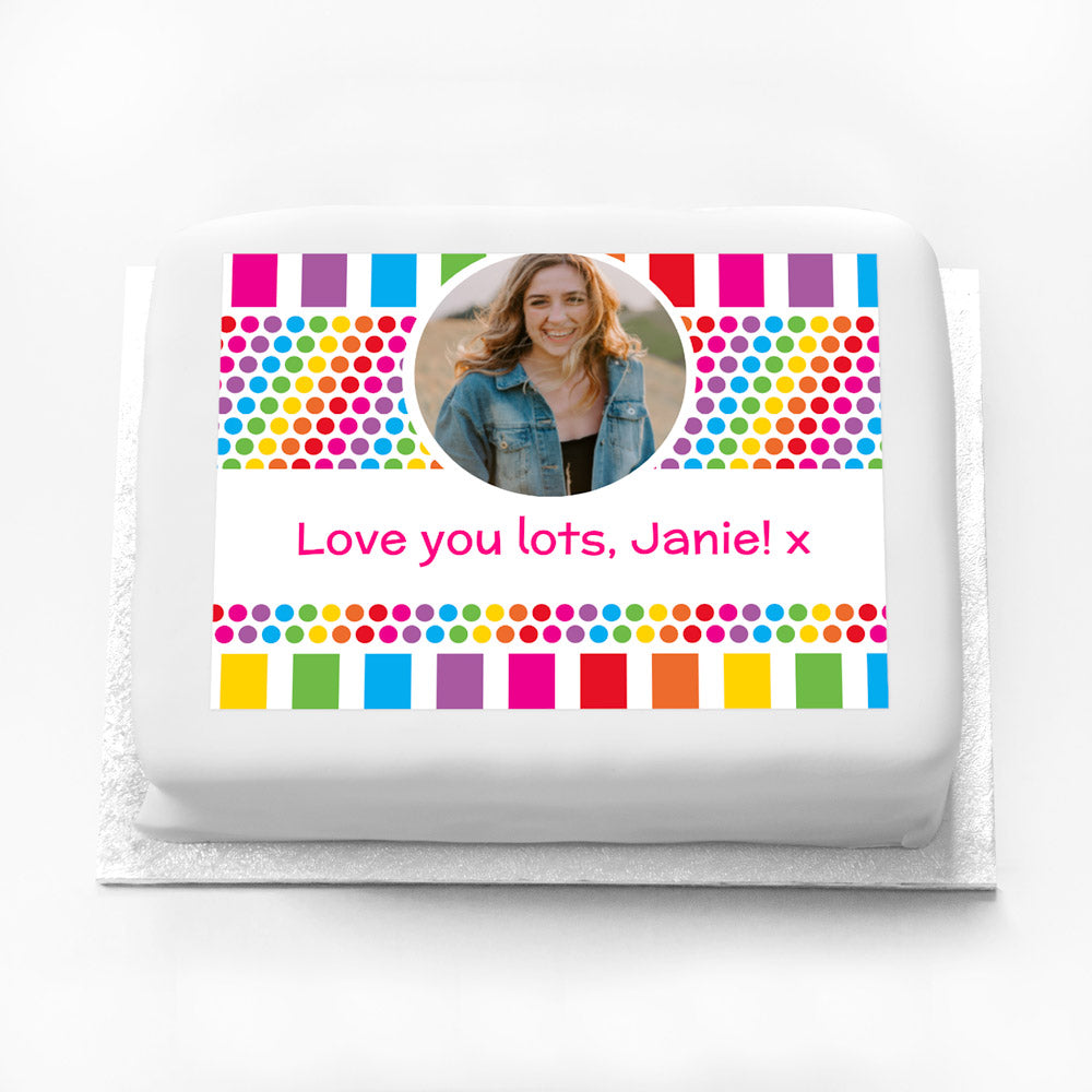 Personalised Photo Cake - Rainbow Stripe Dots