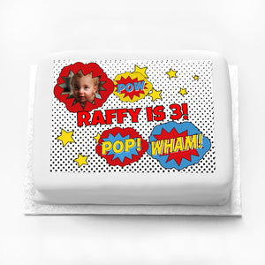 Personalised Photo Cake - Pop Art Superhero
