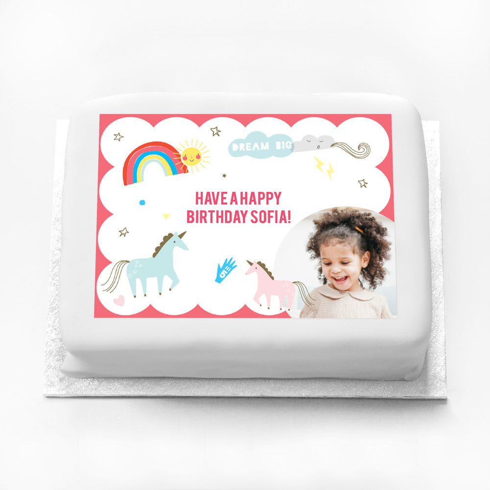 Personalised Photo Cake - Unicorn and Rainbow