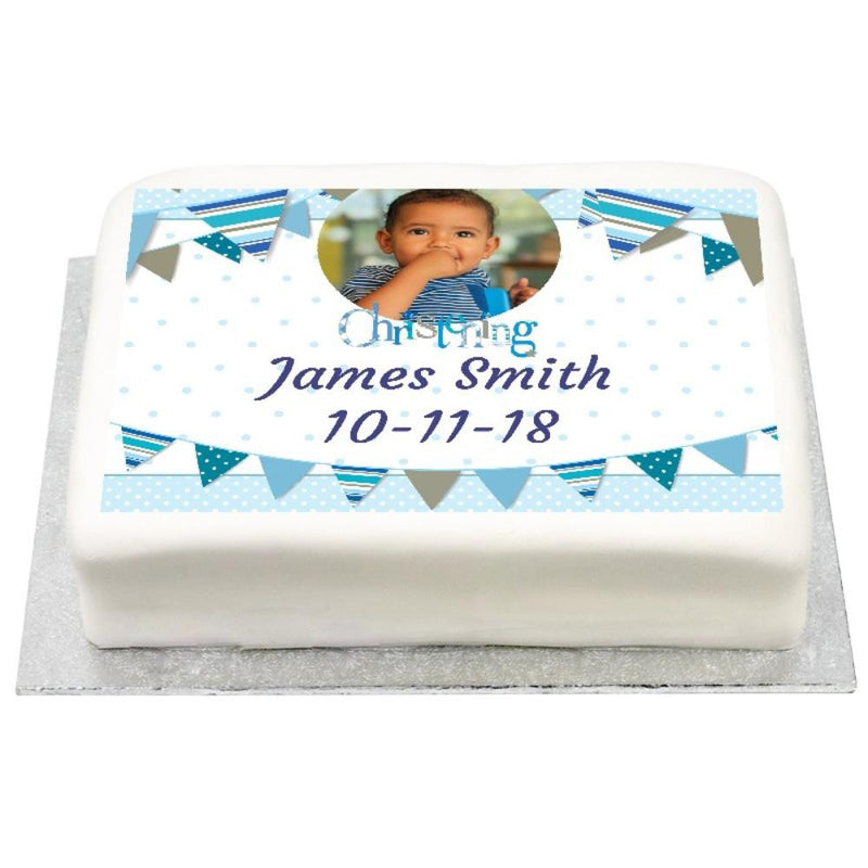 Personalised Photo Cake - Blue Bunting Christening