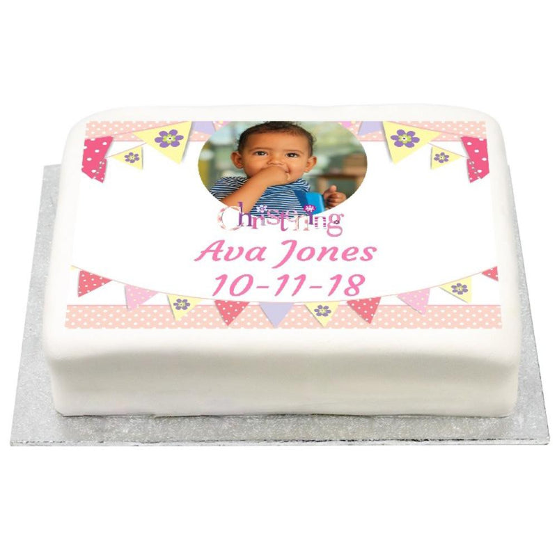 Personalised Photo Cake - Pink Bunting Christening