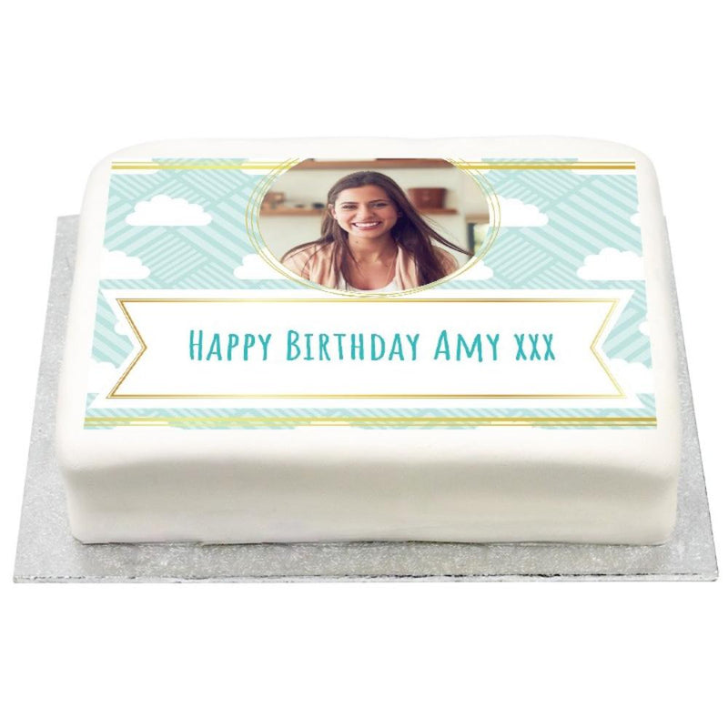 Personalised Photo Cake - Fluffy Clouds