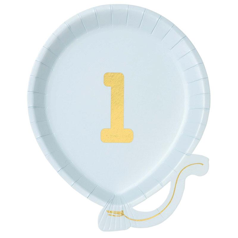 We Heart 1st Birthdays Blue Paper Party Plates (x12)