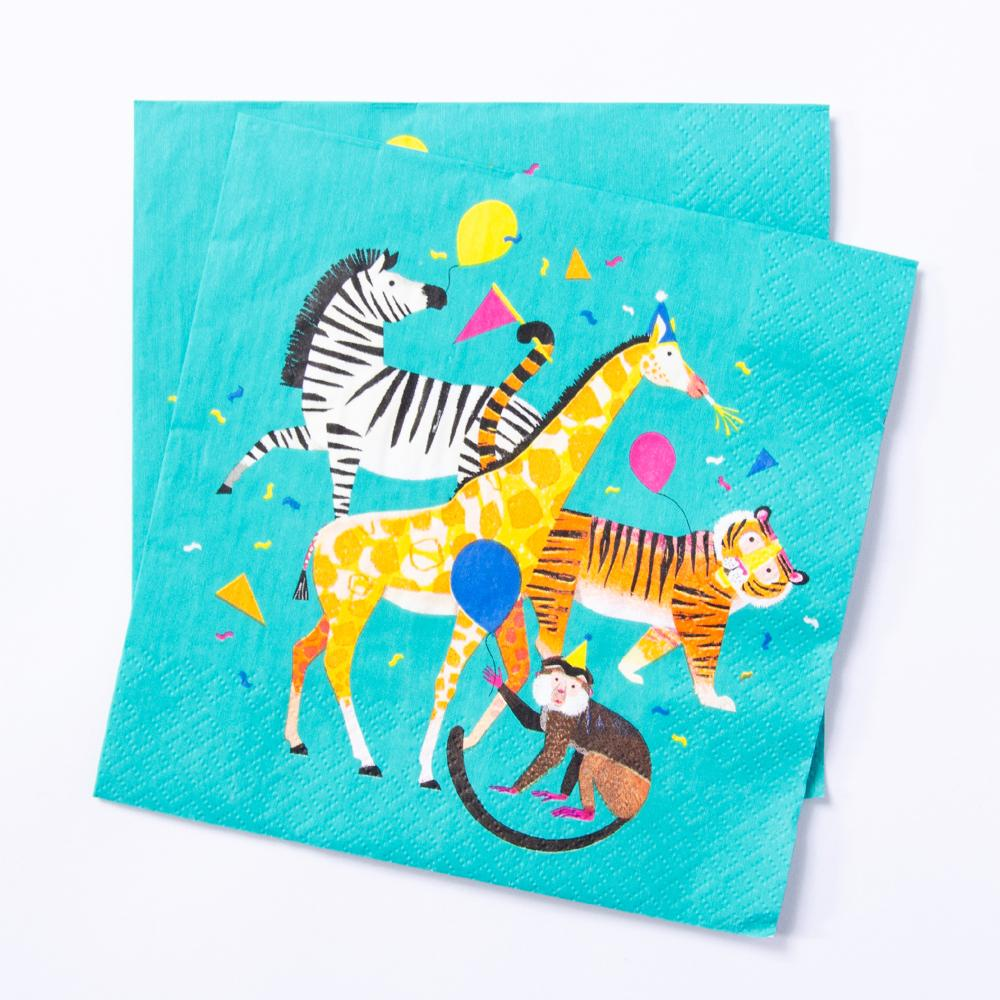 A set of paper party napkins with a collection of cute jungle animals wearing party gear