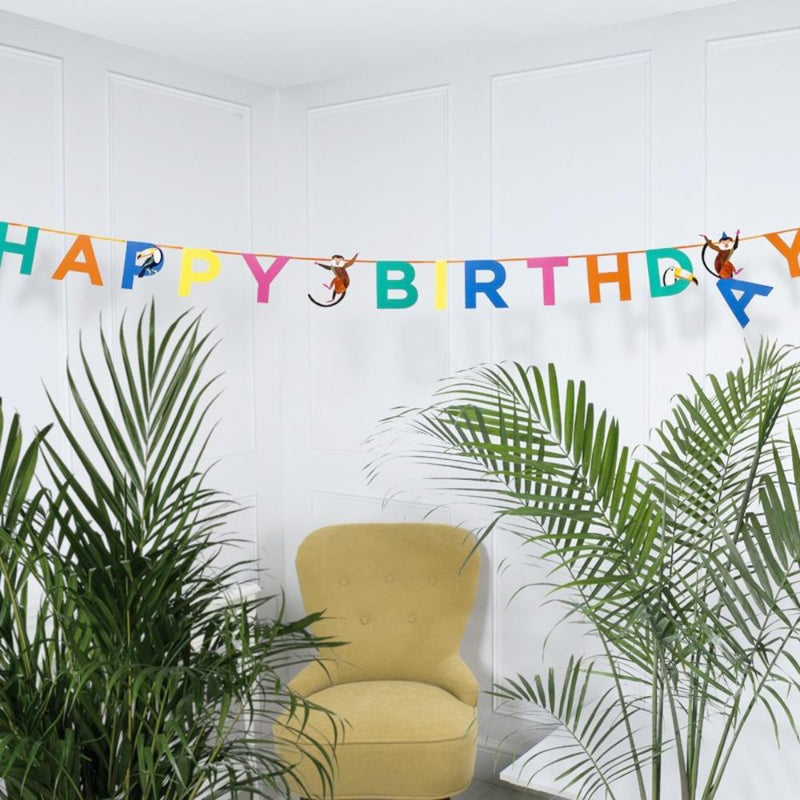 An animal-themed party garland with a Happy Birthday greeting