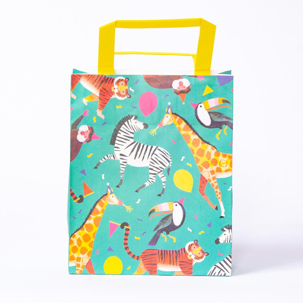 A party bag with a fun, colourful, jungle animal design