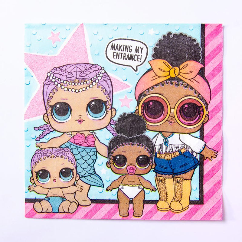 A LOL Surprise party napkin featuring 4 LOL surprise dolls