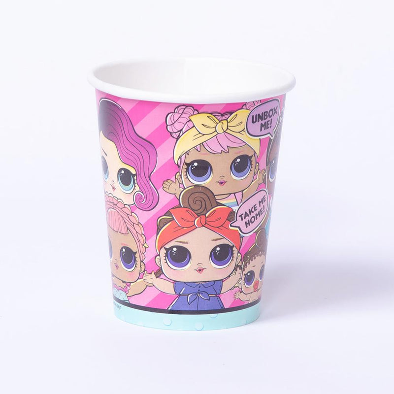 A LOL Surprise-Themed party cup with colourful illustrations