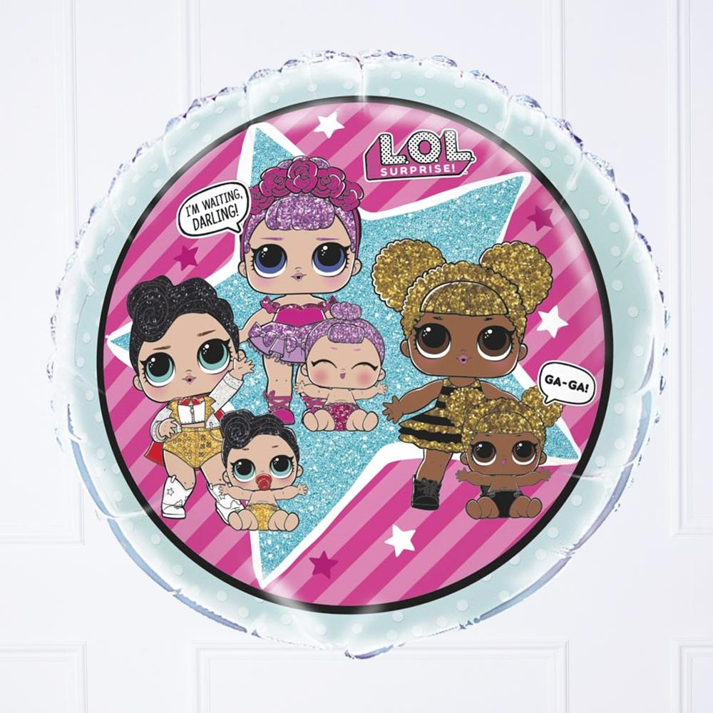 A LOL Surprise-themed party foil balloon featuring the classic characters