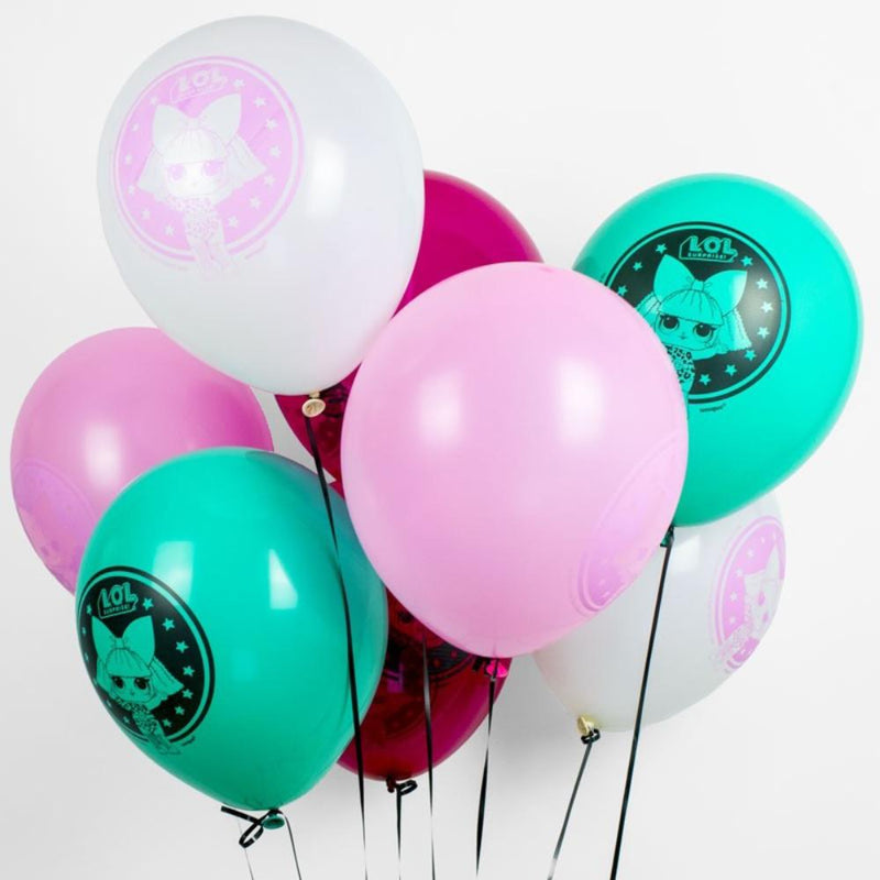 A bunch of LOL Surprise-themed party balloons in various colours