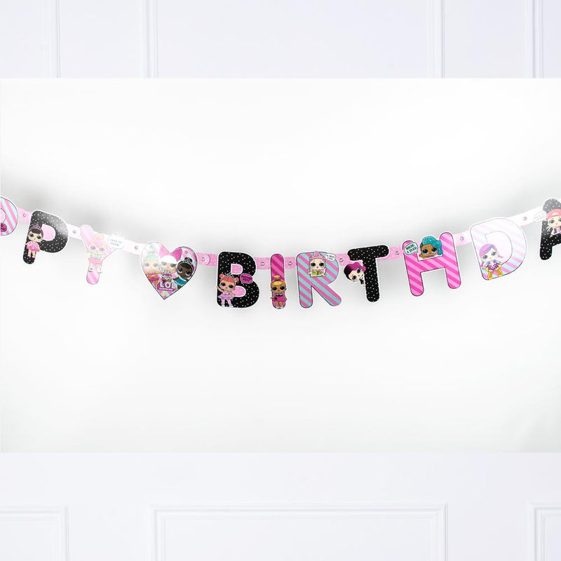 A LOL Surprise-themed party banner with a Birthday greeting
