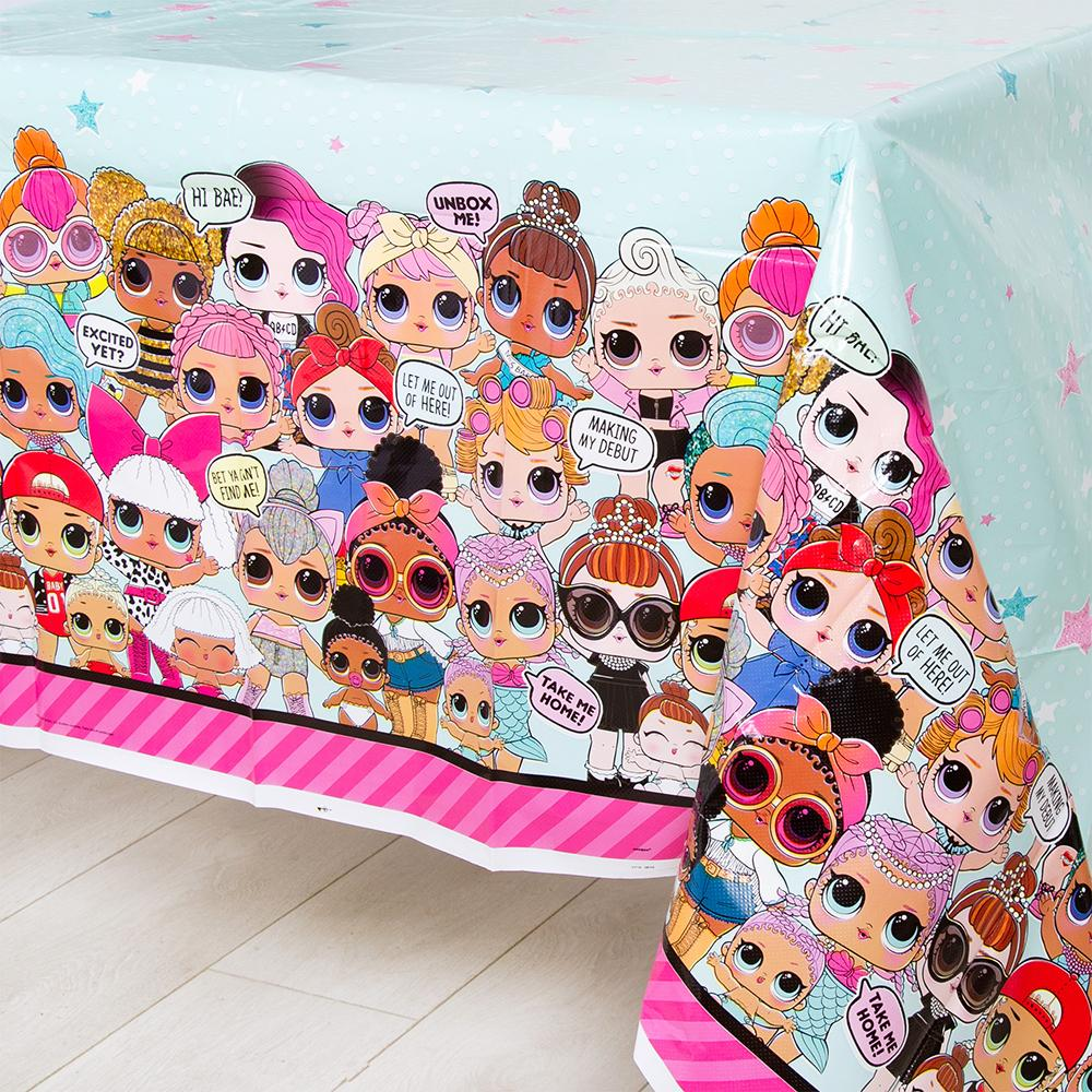A plastic table cover with a LOL Surprise dolls design