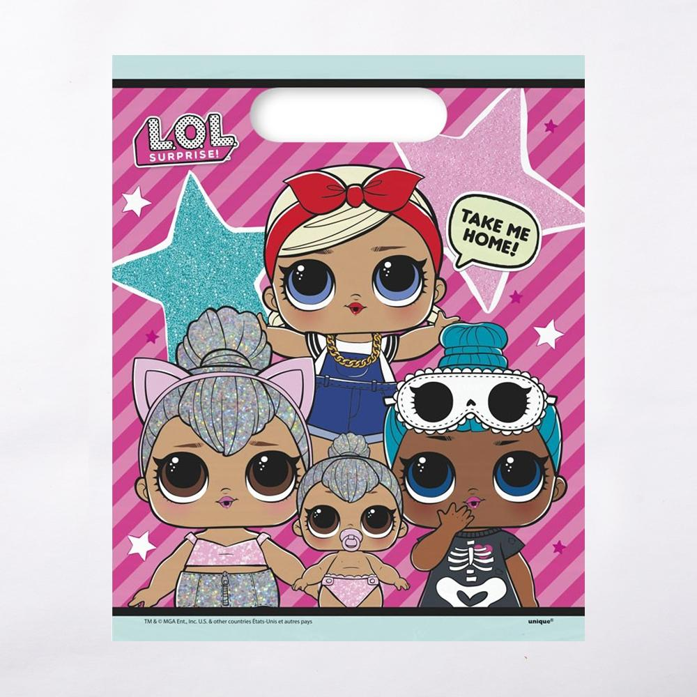 A LOL Surprise-themed party bag featuring the cartoon dolls