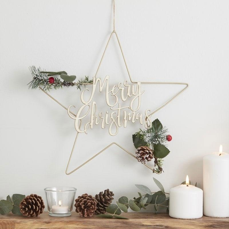 White Christmas Star Wreath