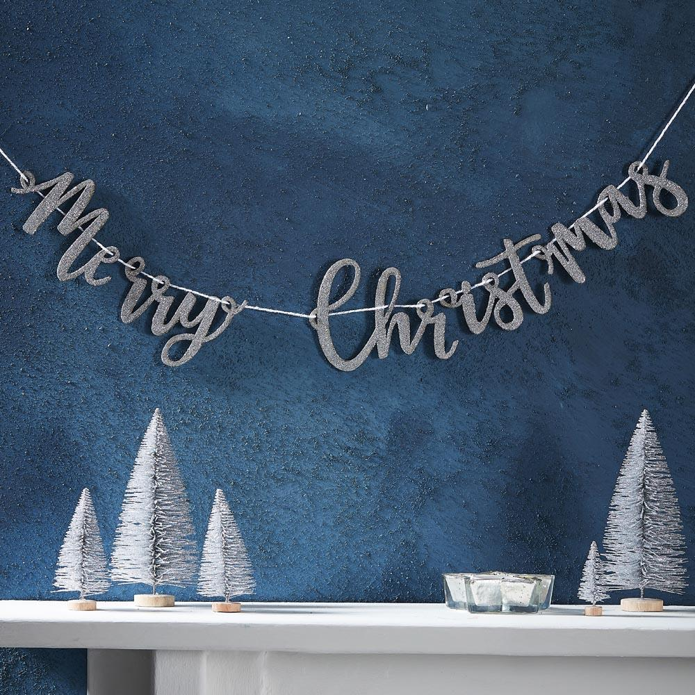 Wooden Glitter Merry Christmas Silver Bunting