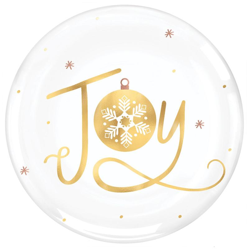 Gold Foil Christmas Party Plates (x4)