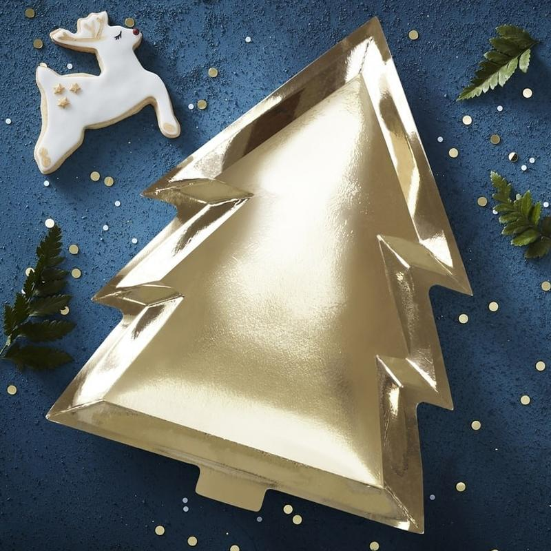 Foiled Christmas Tree Party Plate - Gold (x6)