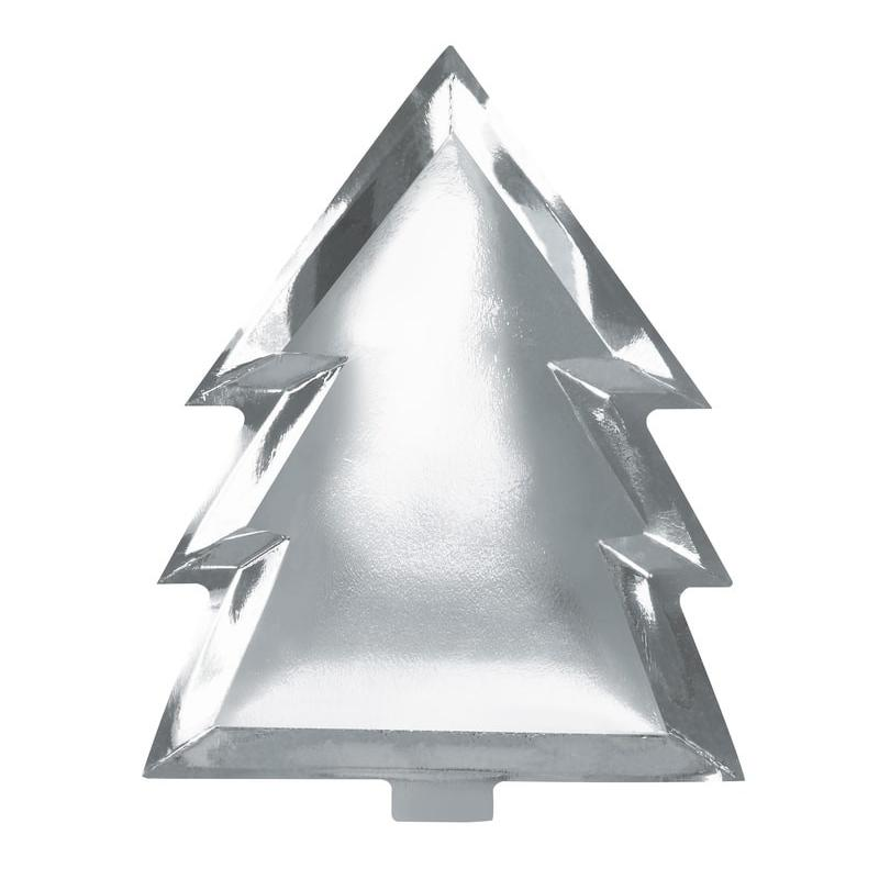 Foiled Christmas Tree Party Plate (x6) Silver