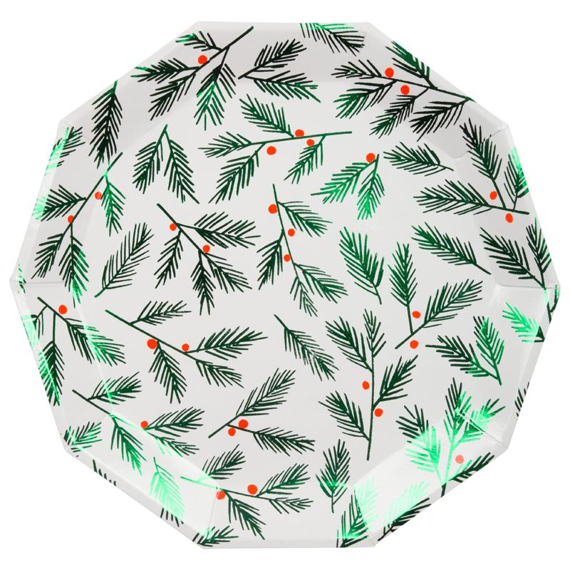 Festive Holly Christmas Plates (x8)