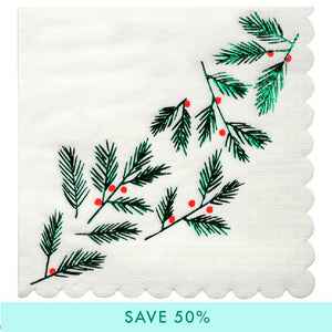 Festive Holly Christmas Napkins (x16)