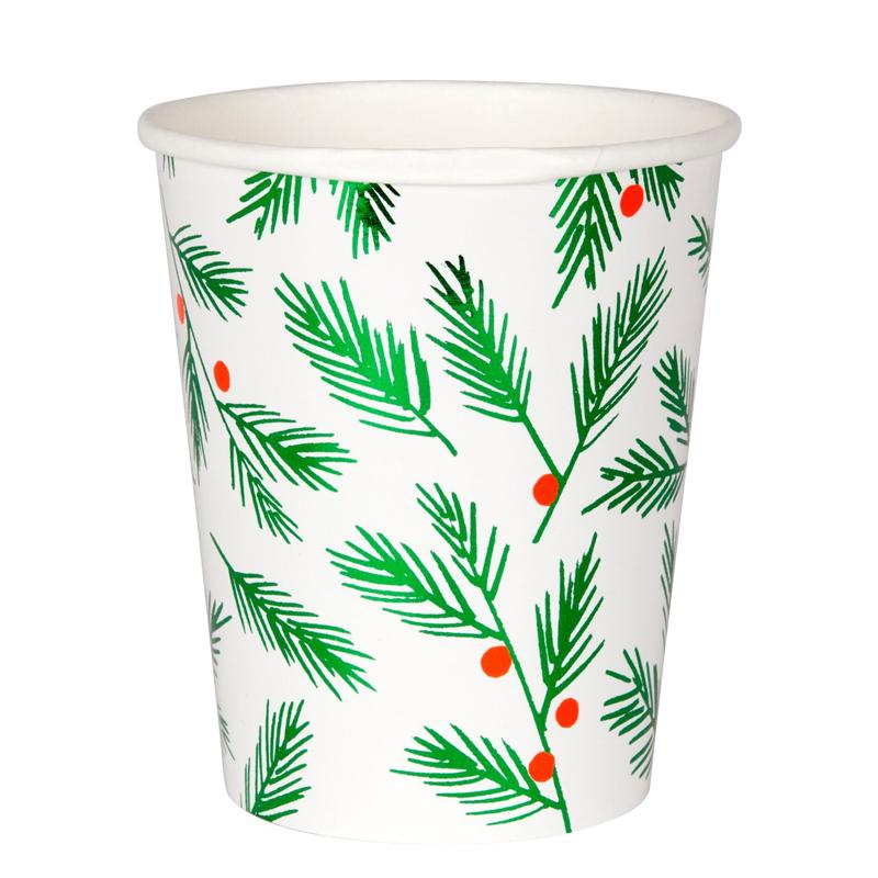 Festively decorated Holly print paper cups