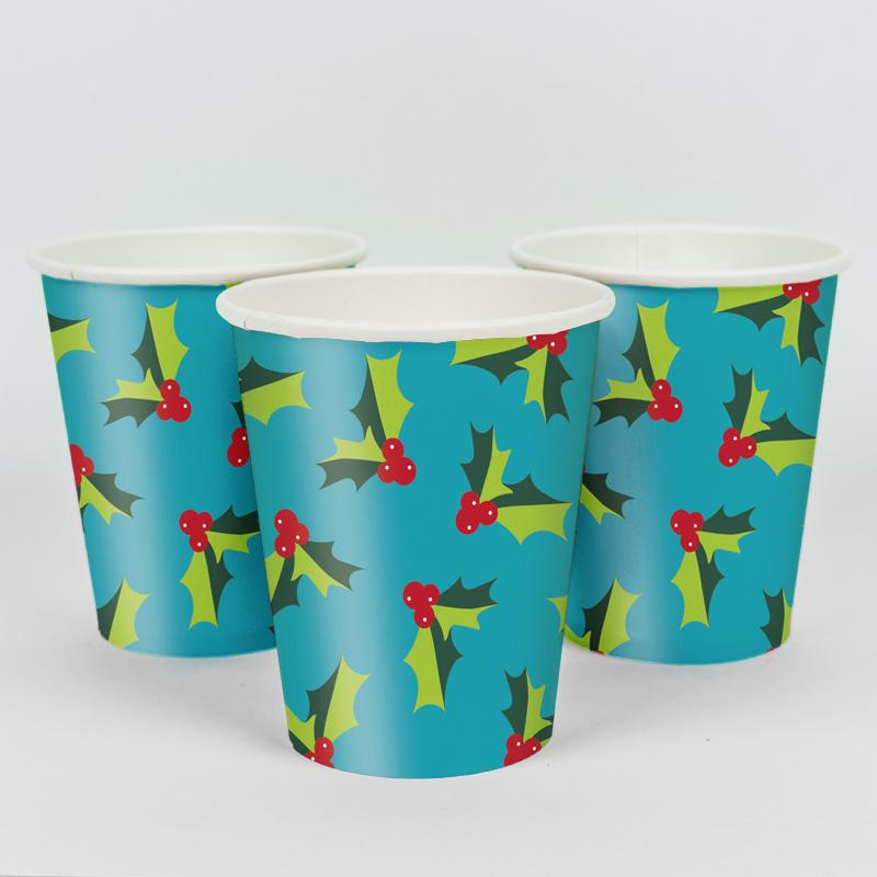 Holly Christmas Party Cups (x8)