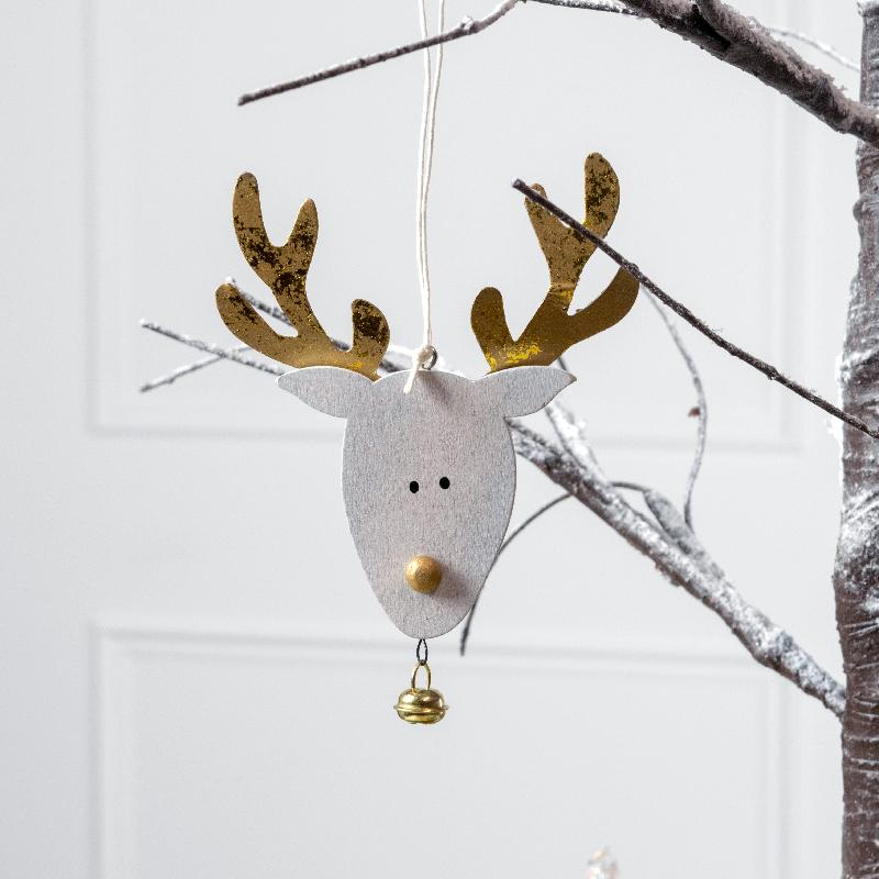 Gold Wood Christmas Reindeer Decoration