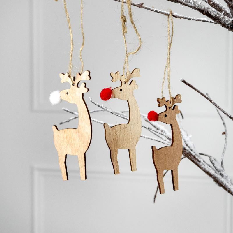 Hanging Wooden Christmas Reindeer Decorations (x8)