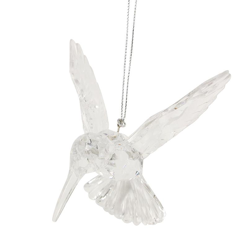 A clear and reflective Hummingbird Christmas tree decoration