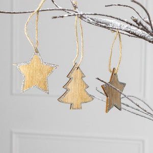 Glittering Wooden Christmas Decorations (x12)