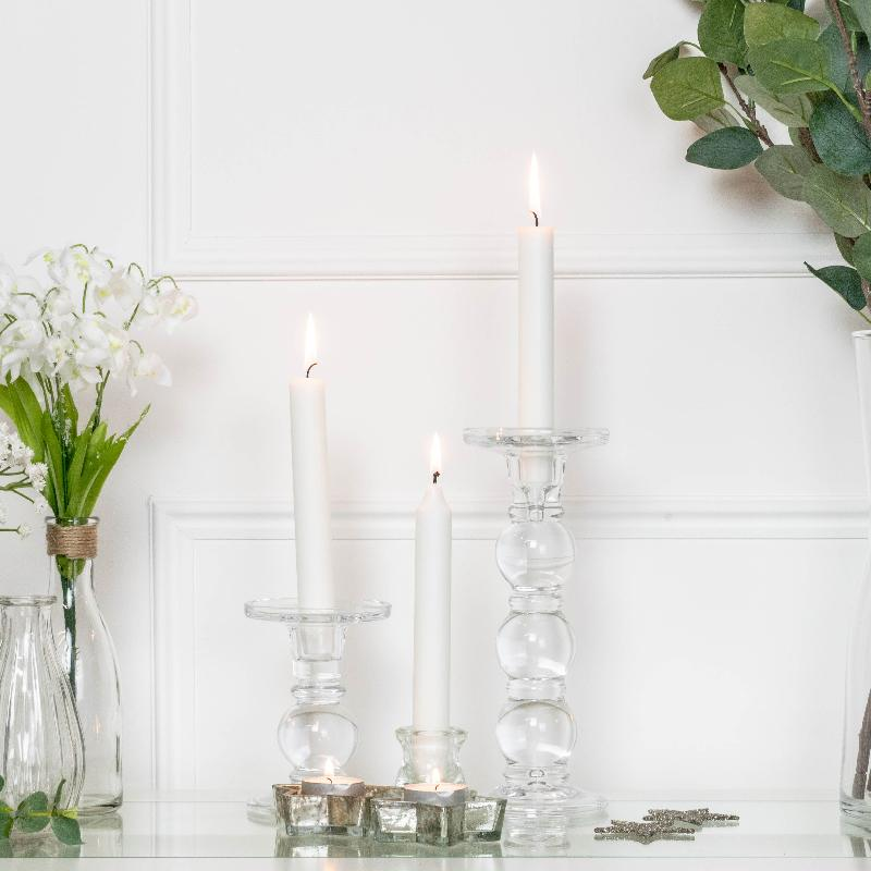 Large Clear Glass Candle Holder
