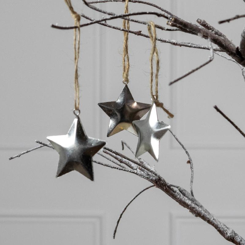Sparkling Silver Hanging Christmas Star Decorations (x12)