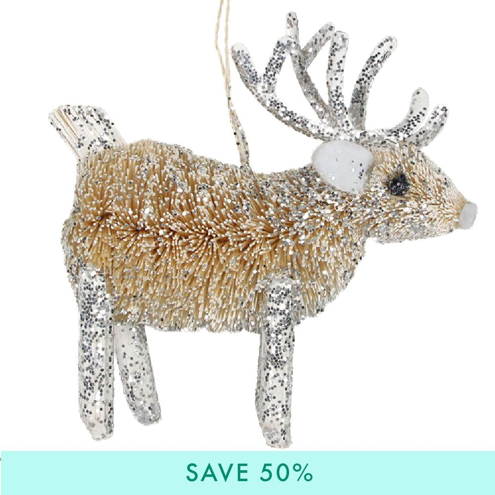 Silver Bristle Christmas Reindeer Decorations