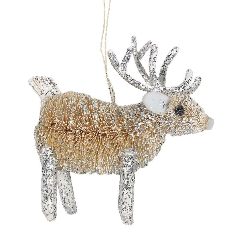 A silver bristle Reindeer hanging Christmas tree decoration